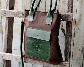 Large brown leather crossbody handbag with pocket - brown leather purse - handmade crossbody two color bag - large handbag - gift for woman