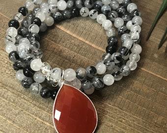 Rutilated Quartz Beaded Necklace with Carnelian Teardrop Pendant