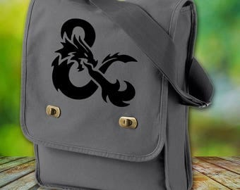 DnD Ampersand Canvas Field Bag - Cotton Canvas Bag - Dungeons and Dragons Inspired Bag - Custom Bags Available