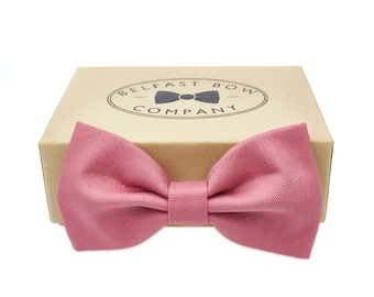 Handmade Bow Tie in Dusky Pink Rose - Adult & Junior sizes available