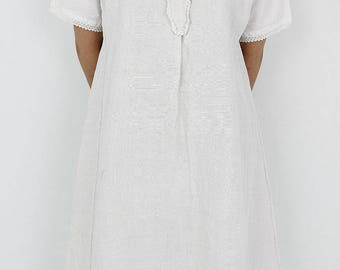 French antique linen dress/France/white/hand-woven linen/short sleeves/219