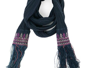 Asian vintage indigo fringe scarf/Vietnam tribal Red Dao/long scarf/natural indigo dyed/416
