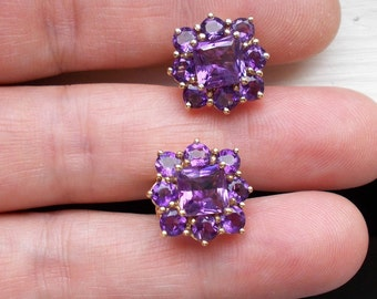 Exceptional genuine amethyst and solid 10K yellow gold Omega back earrings