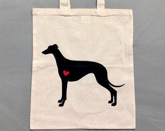 Canvas bag Greyhound silhouette