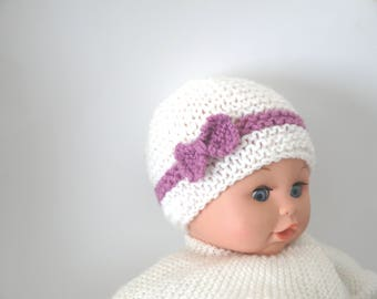 Hand knitted wool baby girl white and purple baby knot Hat -