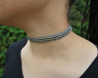 Blue and gold choker sparkly boho necklace