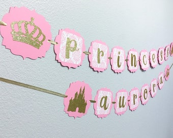 Princess banner | Princess party | Princess baby shower | Disney princess | Princess party decor | First birthday party decor | Girls party