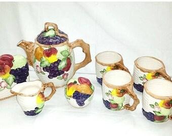 Basketweave Tea Set,8 Pc Set,Fruit Tea Set,Basketweave Creamer Set,Fruit Napkin Holder,Grapes,Apples,Basketweave,Kitsch,Tea Cups,Pitcher Set