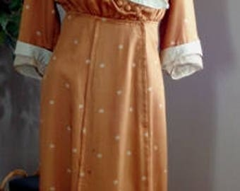 150+ Year Old Vintage Edwardian Dress. Silk and Lace - Brown and Pale Blue