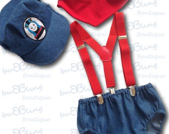Thomas tank engine...Baby boy 1st Birthday Outfit...1st Birthday dress up...Cake Smash Outfit...Baby photo shoot outfit
