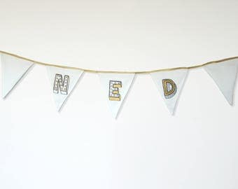 Fabric Nursery Bunting. Baby's Name. Personalised room decoration. Scandi monochrome-gold. Alphabet 'Juniper Red' FontNotFound. Kids decor