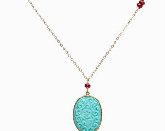 Carved Arizona Sleeping Beauty Turquoise pendant necklace turquoise necklace ruby necklace genuine sleeping beauty gifts for her statement