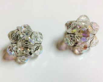 Vintage Signed Capri AB Aurora Boralis Crystals Clip On Earrings Silver Tone