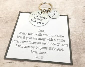 Father of the Bride Gift from Bride - I Will Always be your Little Girl - Father of the Bride Gift - Father of the Bride Keychain