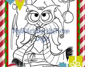 Digital stamp colouring image - Xmas Owl Colouring Image. jpeg / png