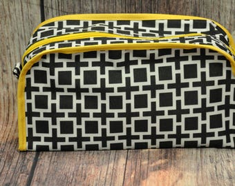 Black and Yellow Cosmetic Bag, Large MakeUp Bag, Monogrammed MakeUp Bag, Monogrammed Cosmetic Bag, Personalized Toiletry Bag, MakeUp Bag