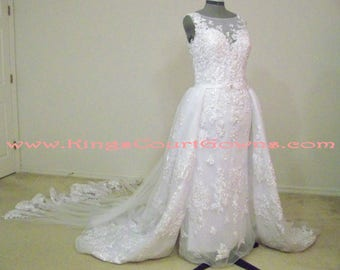 Replica 2-piece Beaded Lace and Tulle Trumpet Dress with Removable Dual Train Overskirt Open Back Wedding Dress Gown