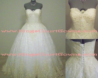 Replica Ivory and Champagne Lace Ball Gown Sweetheart Neckline Corset Back Chapel Train Wedding Dress Gown