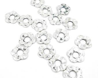 5 pcs Silver flower charm. Silver flower pendant.