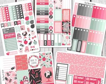 PRE-SALE School Girl Deluxe Weekly Kit Planner Sticker Kit For Erin Condren Life Planner Vertical