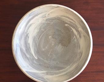 Large serving bowl modern white stoneware hand made wheel thrown LB02