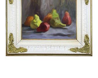 Original Oil Painting Framed Oil Art Still Life Painting Pear Painting Original Painting Oil on Canvas Impressionist Art Original Art