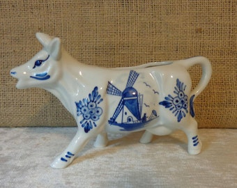 Vintage Delft Blue Cow Creamer, handpainted, made in Holland