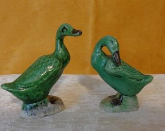 Vintage Duck Figurines, Vintage Goose Figurines, Hand Painted Porcelain Fowl figurines