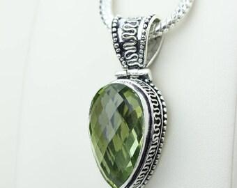 Tear Drop Green Amethyst Vintage Setting 925 S0LID Sterling Silver Pendant + 4MM Snake Chain & Worldwide Shipping p4218