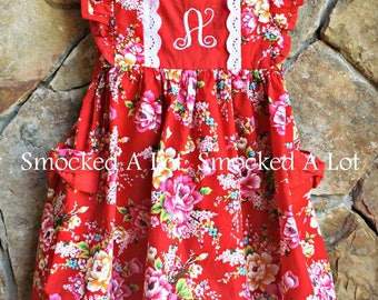 Girls monogrammed dress red Ring around the Rosie floral rose with pockets by Smocked A Lot Birthday lace