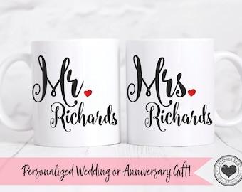 Wedding Gift, Mr and Mrs Mug Set, Wedding Gift, His and Her Mugs, Bride and Groom Mugs, Anniversary Mugs, Couples Mugs, Custom Mug Set