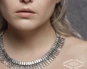 Collar tribal, collar étnico plata, colgante, joyería tribal, joyería india