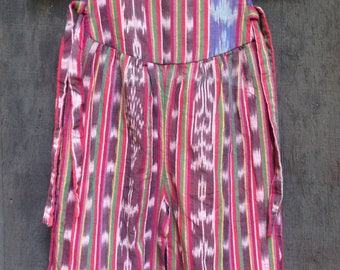 1980's 1990's Girl's Guatemalan Jumper / Overalls / Red Multi / Stripes / Toddler's Size 3-4 see measurements