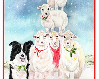 BorderCollie and Sheep Ten Pack Christmas Cards.  Pet Christmas Card.  Inside: Fleece Navidog !  Watercolor Cards by StellaJaneCards