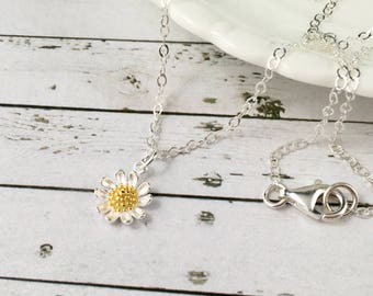 Sterling Silver Sunflower Necklace, Dainty Jewelry, Dainty Necklace, Sunflower Jewelry, Sunflower Pendant, Sunflower Charm, Sunflower Gifts
