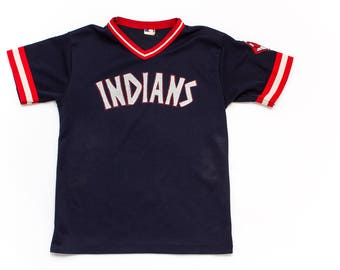RARE 1970s Cleveland Indians Throwback MLB Jersey | Navy Blue Caveman Lettering | RETRO Polyester V-Neck | Pro Knit Tag | Chief Wahoo