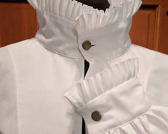 In Stock!  Fencing Shirt w Small Ruff Collar & Cuffs SCA Rapier Armor