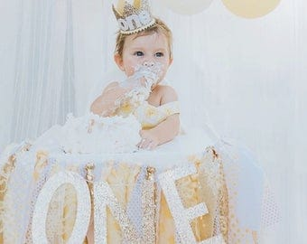 First Birthday Crown | 1st Birthday Girl Outfit for Cake Smash | Baby Girl First Birthday Outfit | 1st Birthday Hat | Gold Yellow