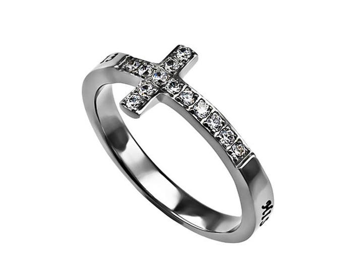 "Sideway Cross Ring ""His Strength"""