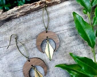Wooden Earrings - Triangle Moon Beams