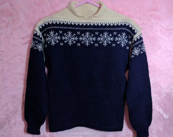 1950s Vintage Christmas Sweater Shawl Collar Pullover Blue White Snowflake Icelandic