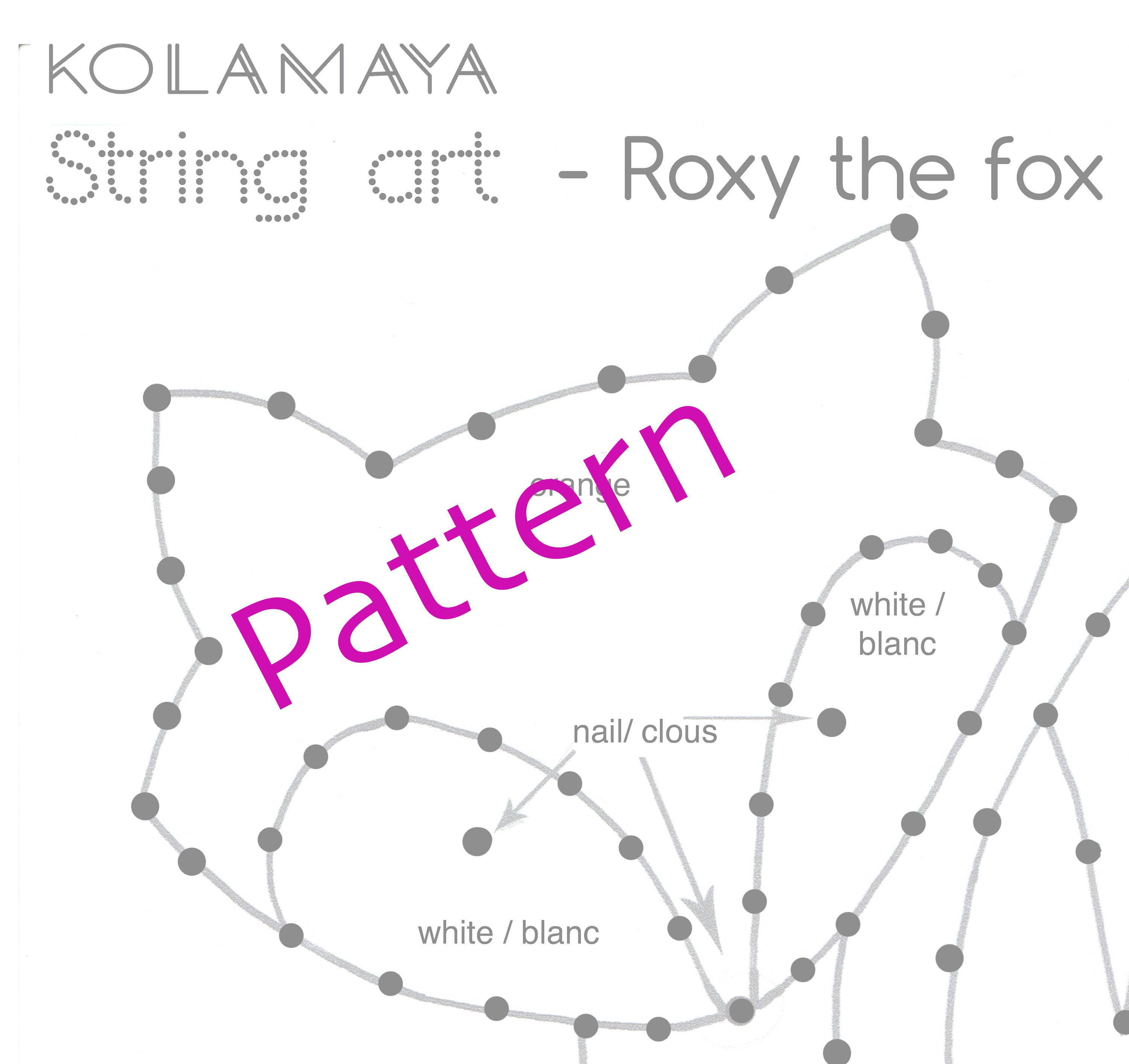 string art pattern instructions roxy the fox. Black Bedroom Furniture Sets. Home Design Ideas
