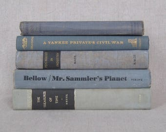 Decorative Book Set, Vintage Book Bundle in Faded Blues, Farmhouse Books, Home Staging, Wedding Centerpiece,  Blue Book Stack