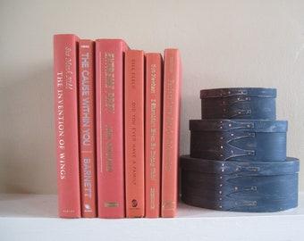 Decorative Book Set in Orange, Book Bundle, Home Staging Books, Wedding Centerpiece, Stack of Books, Designer Colors