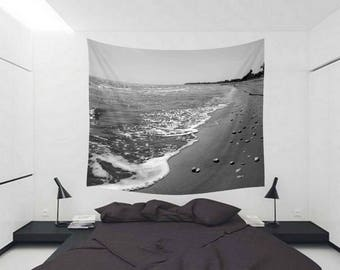 Beach Days XXX Wall Tapestry - Home Decor - Black and White Tapestry - Wanderlust - Bedroom Tapestries - Explore - Landscape Photography