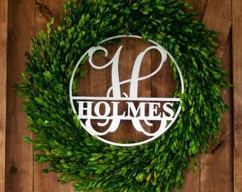 "16"" Metal Circle Custom Personalized Monogram Vine Monogram"