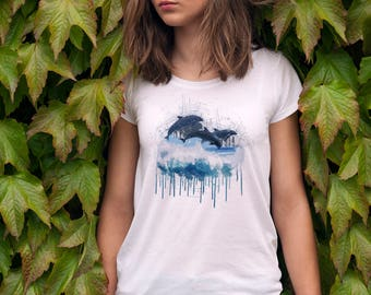 Watercolour Dolphin T-Shirt, Painted Dolphins Tshirt, Dolphin Lover Gift, Dolphin School Tshirt, Ocean Clothing Gift, Sea Lover T-Shirt