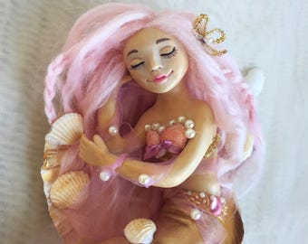 Lorelay, little mermaid, art doll, ooak art doll, collectible doll, gift for girl, home decor, mermaid doll, clay doll, fantasy doll