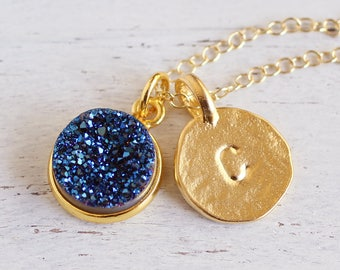 Gold Initial & Blue Druzy Necklace-Vermeil Letter Disc / Round Raw Druzy-Natural Druzy Crystal Gold Fill-Rose,Silver,White,Green,Purple,Grey