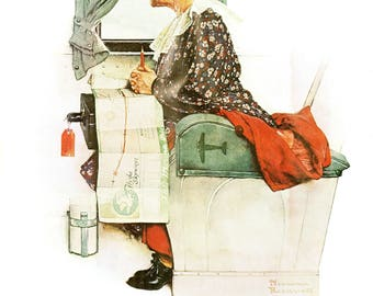 """First Flight and See America First Post Covers painted by Norman Rockwell in 1938. The page is approx. 11 1/2"""" wide and 15"""" Tall."""